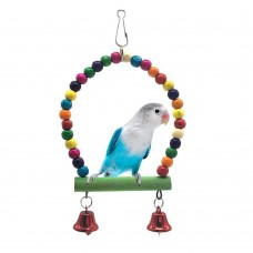 Bird Toy with perch stand with bells round LN-052 15*10 CM