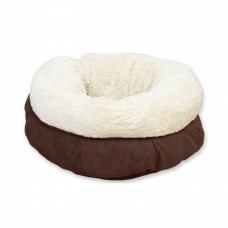 ALL FOR PAWS LAMBSWOOL DONUT CAT BED - BROWN