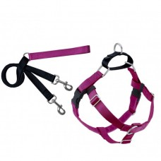 "2 Hounds Design FREEDOM NO-PULL HARNESS AND LEASH - RASPBERRY / MEDIUM 1"" dog item leash/collar/harness"