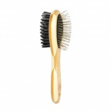 Duvo BAMBOO 2-IN-1 GROOMING BRUSH-S(20x6cm):5414365203351 cat item grooming brush dog item grooming brush