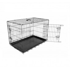 Duvo DOG CRATE 2DOOR PLASTIC TRAY GIANT 123x77x83 CM BLACK