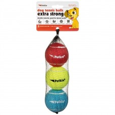 Petkin 3 Dog Tennis Balls Extra Strong - Standard (Rainbow) -PACK OF 3 dog item toy