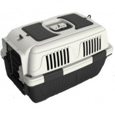Nutra Pet Dog And Cat Carrier Box Closed Top Dark Grey L55CmsX W33Cms X H30